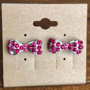 Accessories - Pink bow earrings